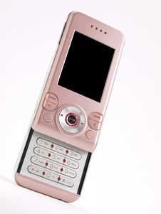 Pink Slider Cell Phone Left Angle Perspective Stock Photo