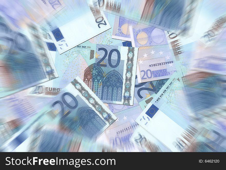 20 Euro Notes Texture Radial Blur
