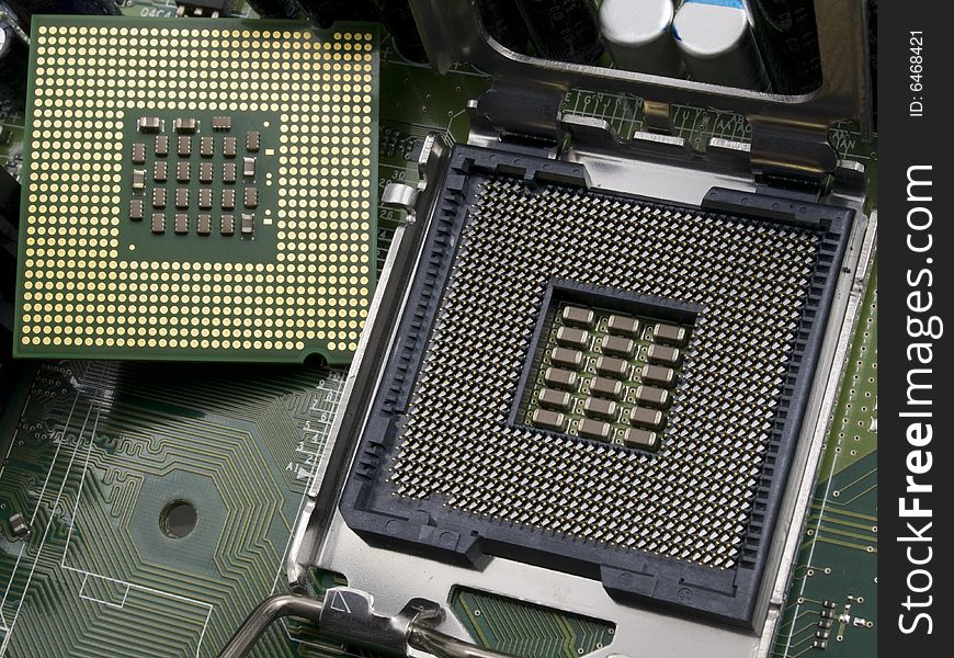 Computer CPU with motherboard
