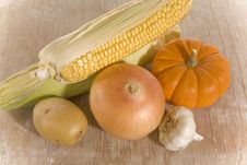Free Vegetables On Rusty White Wood Royalty Free Stock Photography - 6470167