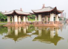 The Two Pavilions In Lake Stock Photos