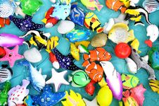 The Colorful Plastic Toy Sea Animals Royalty Free Stock Photo