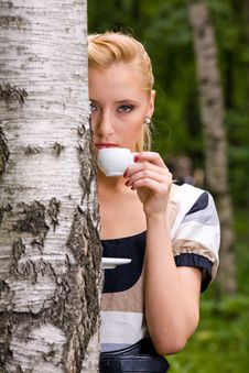 Beautiful Young Woman And Coffee Stock Photos