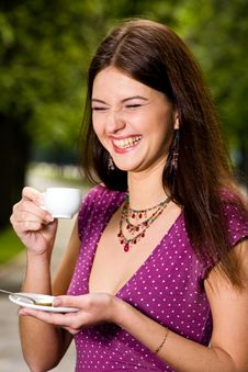 Beautiful Young Woman And Coffee Royalty Free Stock Photo