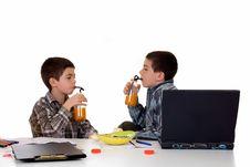 Boys Doing Homework Stock Image