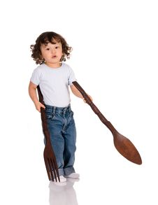 Free Child With Spoon And Fork Royalty Free Stock Photography - 6473297
