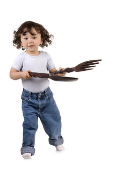 Free Child With Spoon And Fork Stock Photos - 6473333