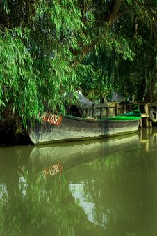 Traditional Wooden Boat At The River, Vylkove, U Royalty Free Stock Photography
