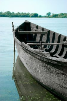 Traditional Wooden Boat At The River, Vylkove, U Stock Photo