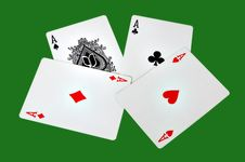 Playing Cards Four Aces Stock Photos