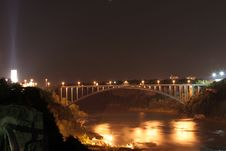 Free Bridge At Niagra Falls Lit Up At Night Royalty Free Stock Photo - 6474915