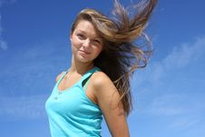 Free Girl On A Background Of The Dark Blue Sky Royalty Free Stock Photo - 6475495