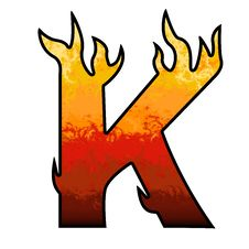 Flames Alphabet Letter K Stock Photos