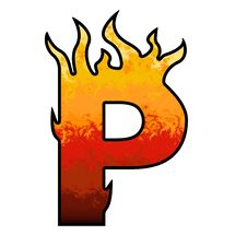 Flames Alphabet Letter P Stock Images