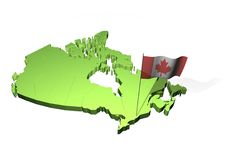 Map And Flag Of Canada Royalty Free Stock Photo
