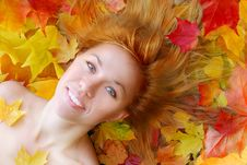 Sensuality Girl In Leafs Stock Image