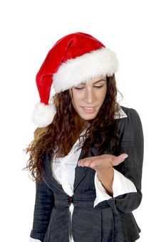 Free Lady In Christmas Cap Looking Her Palm Stock Images - 6477694