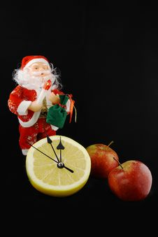 Apples And The Santa Klaus Royalty Free Stock Image