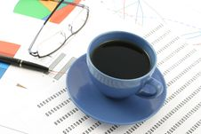 Free Cup Of Coffee, Ballpoint Pen And Glasses On Earnin Royalty Free Stock Image - 6478856