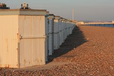Sunset Beach Huts And Pier Stock Photography