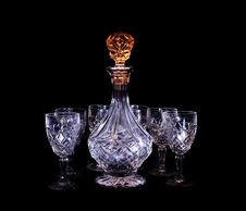 Free Decanter And Glasses With Light Stock Photos - 6479413