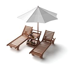 Free Two Chairs And Umbrella Stock Images - 6479454