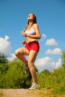 Free Girl Running Forest Stock Photography - 6479482