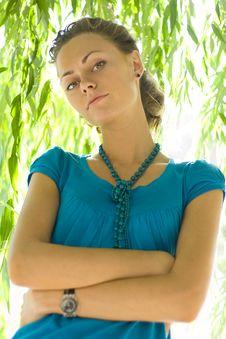Free Beautiful Woman Near Willow Royalty Free Stock Image - 6479876