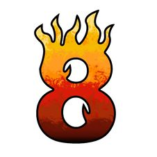 Flames Alphabet Number 8 Eight Stock Images