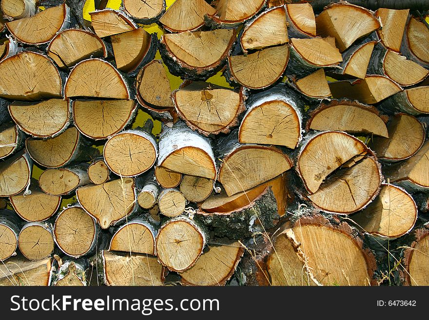 Stacked winter logs