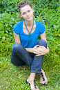 Free Woman Sit Down On Grass Royalty Free Stock Photos - 6480038