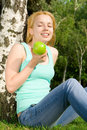 Free Pretty Woman Eating Green Apple Royalty Free Stock Photo - 6481855