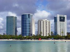 Free Honolulu Downtown Beach Stock Photos - 6480103