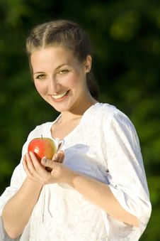 Free Woman With Apple Stock Photography - 6481502
