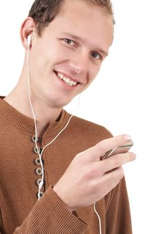 Free Young Caucasian Man Listening To Music Royalty Free Stock Images - 6481739