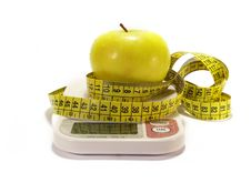 Free Apple And Tape Measure Isolated On White Royalty Free Stock Image - 6481746
