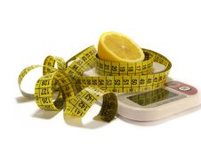 Free Lemon And Tape Measure Isolated On White Royalty Free Stock Images - 6481899