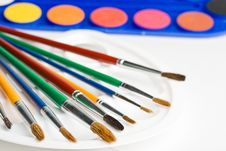 Free Water Colour Paints And Brushes Royalty Free Stock Photo - 6482555