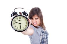 Free Young Woman With Alarm Clock Screaming Royalty Free Stock Photo - 6482595