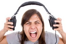 Young Woman Listening Music With Headphones Stock Photos
