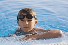 Boy On Pool Royalty Free Stock Photos