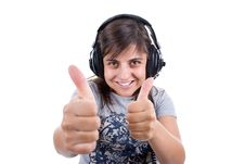 Free Young Woman Listening Music With Headphones Royalty Free Stock Photo - 6482665