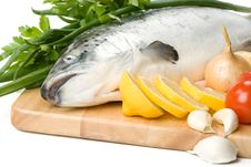 Free Fresh Salmon With Vegetables Stock Images - 6482694
