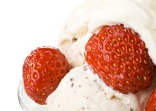 Ice-cream With A Strawberries Royalty Free Stock Image