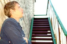 Free Young Stylish Man Stand Near Stairs. Royalty Free Stock Photography - 6483707