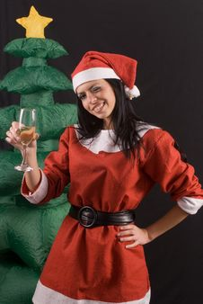 Free Young Sexy Santa Claus Girl On Black Background Stock Photography - 6484912