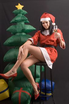 Free Young Sexy Santa Claus Girl On Black Background Royalty Free Stock Photos - 6485008