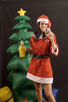 Free Young Sexy Santa Claus Girl On Black Background Royalty Free Stock Photography - 6485017