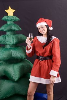 Free Young Sexy Santa Claus Girl On Black Background Stock Photo - 6485120