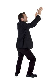 Free Side View Of Success Businessman With Raised Hands Royalty Free Stock Images - 6485989